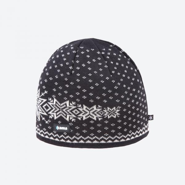KAMA A128 čepice z merino vlny pletená černá  850b29d416